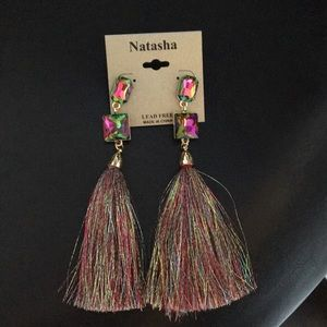 New Natasha Holographic Earrings w Tassels Multi